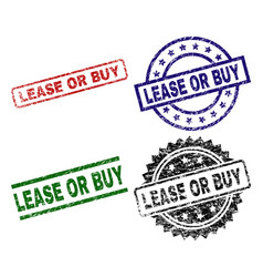 Grunge textured lease or buy stamp seals vector