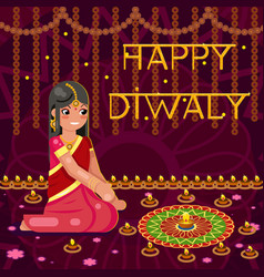 Happy diwali cute indian girl woman in native vector