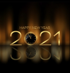 Happy new year background with clock design vector