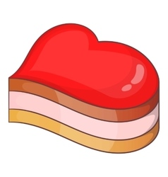 Heart-shaped cake icon cartoon style vector