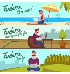 Hipster Freelancer Banners Set vector