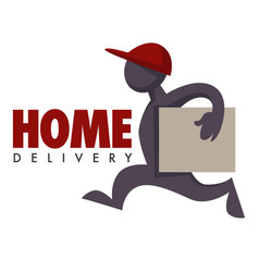 home delivery service courier with parcel or box vector image