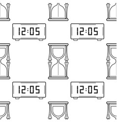 hourglass and electronic watch black and white vector image