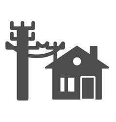 House electrification solid icon electricity and vector