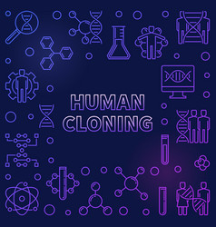 Human cloning colorful outline frame or vector