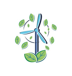Isolated wind mill and sustainability design vector