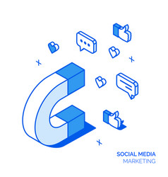 Isometric social marketing line style design vector