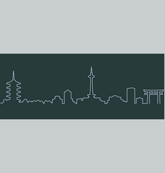 Kyoto single line skyline vector
