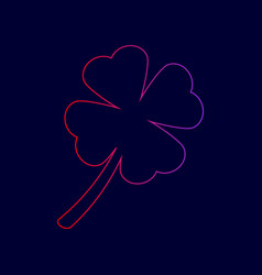 Leaf clover sign line icon with gradient vector