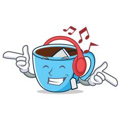 Listening music tea cup mascot cartoon vector