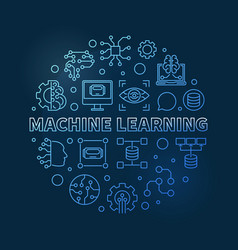machine learning blue circular outline vector image