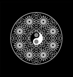 Mandala pattern with yin yand sign outline vector
