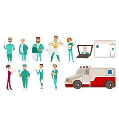medical staff - doctors ambulance online help vector image