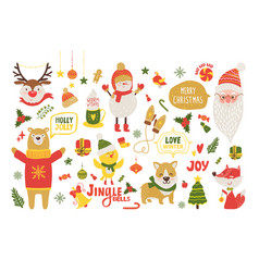 Merry christmas poster with cute cartoon animals vector