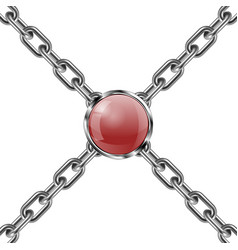 Metal chain and jewel 3d vector