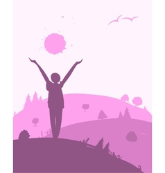 Morning exercises landscape for your design vector image
