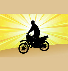 Motorcyclist silhouette on the abstract background vector