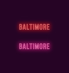 neon name of baltimore city in usa text vector image