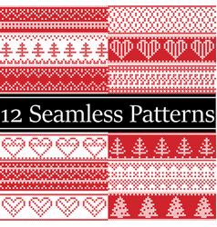 nordic style semaless christmas patterns vector image