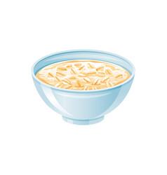 oats bowl oatmeal with milk oat grain porridge vector image