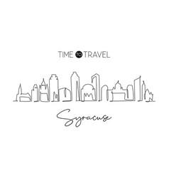 One single line drawing syracuse city skyline new vector