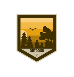Outdoor edgy shield adventure badge design vector