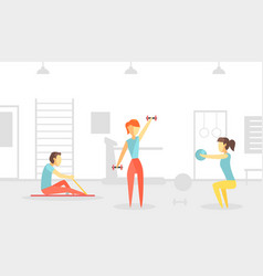 people trainining in physiotherapeutic gym class vector image