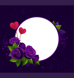 purple roses and two heart shape symbol love vector image