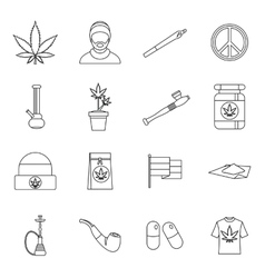 Rastafarian icons set outline style vector