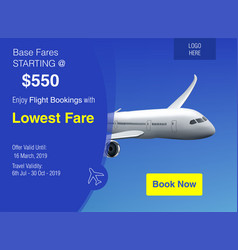 Realistic banner for cheap flights business vector