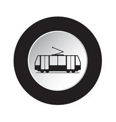Round black white button icon - tram streetcar vector