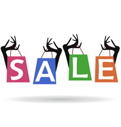 sale background woman hands with shopping bags vector image