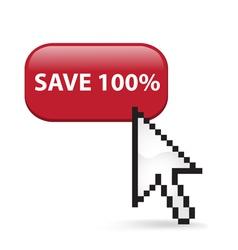 Save 100 Button Click vector