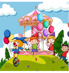 scene with kids and clown at funpark vector image