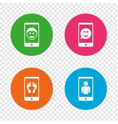 selfie smile face icon smartphone video call vector image