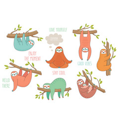 set cute hand drawn sloths hanging on tree vector image