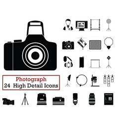 set of 24 photography icons vector image