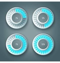 Set of glowing preloaders vector