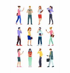 set people using smartphones vector image