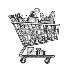 shopping cart sketch engraving vector image