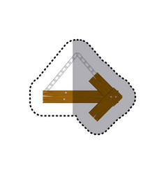 Sticker arrow right shape wooden sign board with vector