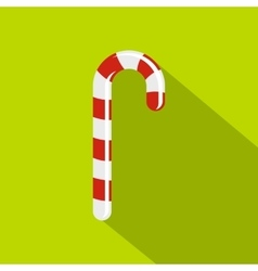 Striped candy cane icon flat style vector image
