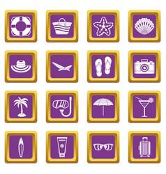 Summer rest icons set purple vector
