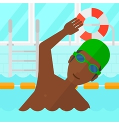 Swimmer training in pool vector image