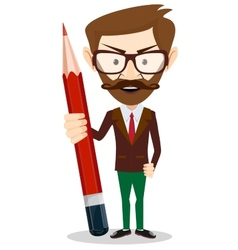 Teacher with a red pencil vector image
