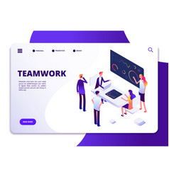 Teamwork isometric landing page cartoon business vector