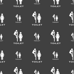 toilet icon sign Seamless pattern on a gray vector image