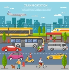 Transport In City Poster vector image