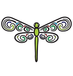 Tribal dragonfly vector