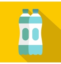 Two plastic bottles of water icon flat style vector image